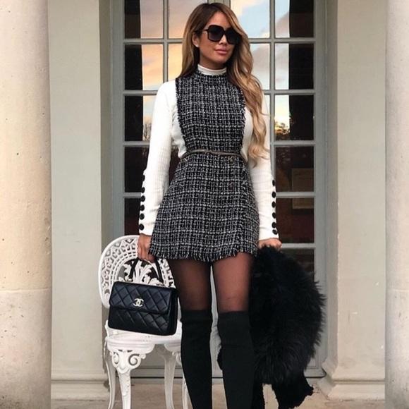 0f53e6835e12 Zara blogger fav tweed jumpsuit romper